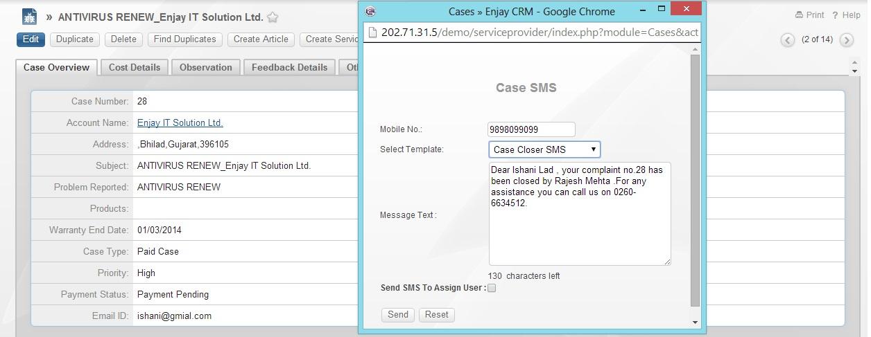 SugarCRM SMS Addon